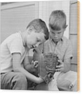 1970s Two Boys Seriously Inspecting New Wood Print