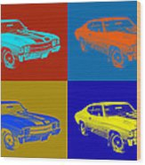 1971 Chevrolet Chevelle Ss Pop Art Wood Print