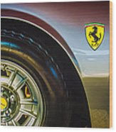 1971 Ferrari Dino Gt Wheel Emblem -027c Wood Print