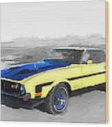 1971 Ford Mustang Boss Watercolor Wood Print