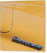 1971 Plymouth Barracuda Convertible Hood Emblem Wood Print