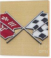 1972 Corvette Crossed Flags Wood Print