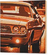1972 Dodge Challenger In Orange Wood Print