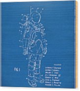 1973 Space Suit Patent Inventors Artwork - Blueprint Wood Print by Nikki Marie Smith