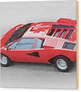 1974 Lamborghini Countach Watercolor Wood Print
