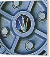 1974 Maserati Merak Wheel Emblem Wood Print