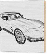 1975 Corvette Stingray Sports Car Illustration Wood Print