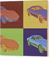 1975 Corvette Stingray Sportscar Pop Art Wood Print