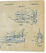 1975 Space Shuttle Patent - Vintage Wood Print