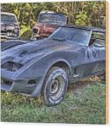 1977 Corvette Black Wood Print