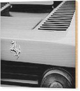 1979 Ferrari Taillight Emblem -0378bw Wood Print
