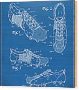 1980 Soccer Shoes Patent Artwork - Blueprint Wood Print