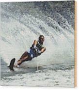1980s Man Waterskiing Making Fan Wood Print