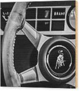 1982 Lamborghini Countach 5000s Steering Wheel Emblem -1549bw Wood Print