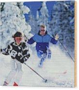 1990s Couple Skiing Vail Colorado Usa Wood Print