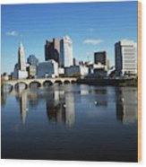 1990s Skyline Along The Scioto River Wood Print
