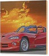 1995 Dodge Viper At Sunset Wood Print
