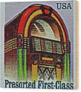 1995 Jukebox Stamp Wood Print