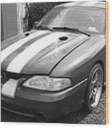 1996 Mustang Cobra In Black And White Wood Print