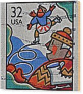 1996 Winter Skaters Stamp Wood Print