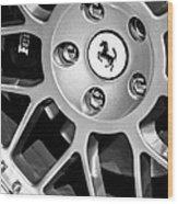 1997 Ferrari F 355 Spider Wheel Emblem -125bw Wood Print