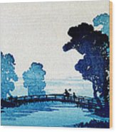 19th C. Japanese Father And Son Crossing Bridge Wood Print