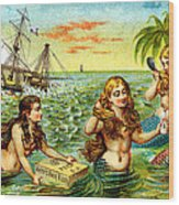 19th C. Mermaids At Ship Wreck Wood Print
