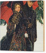 19th C. Young Couple In Winter Wood Print