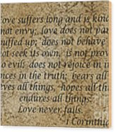 1st Corinthians 13 Verses 4 - 7  Wood Print