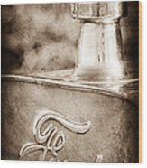 1911 Ford Model T Torpedo 4 Cylinder 25 Hp Hood Ornament - Emblem Wood Print by Jill Reger