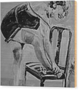 1920s Girl Black And White Wood Print
