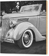 1936 Ford Cabriolet Bw  Wood Print