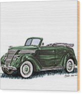 1937 Ford 4 Door Convertible Wood Print