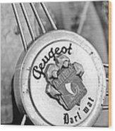 1937 Peugeot 402 Darl'mat Legere Special Sport Roadster Recreation Steering Wheel Emblem Wood Print by Jill Reger
