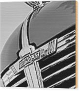 1938 Chevrolet Coupe Hood Ornament -0216bw Wood Print