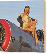 1940s Style Aviator Pin-up Girl Posing Wood Print