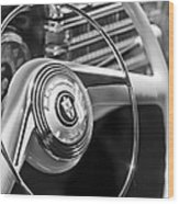1942 Lincoln Continental Cabriolet Steering Wheel Emblem Wood Print