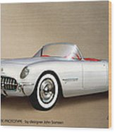 1953 Corvette Classic Vintage Sports Car Automotive Art Wood Print by John Samsen