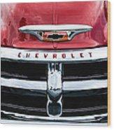 1955 Chevrolet 3100 Pickup Truck Grille Emblem Wood Print