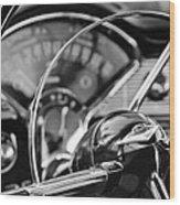 1956 Chevrolet Belair Steering Wheel Wood Print