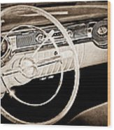 1956 Oldsmobile Starfire 98 Steering Wheel And Dashboard Wood Print