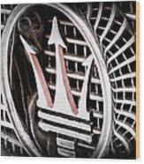 1957 Maserati Grille Emblem Wood Print