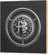 1961 Alfa Romeo Giulietta Sprint Veloce Series II Emblem -1045bw Wood Print