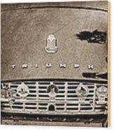 1960 Triumph Tr 3 Grille Emblems Wood Print