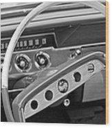 1961 Chevrolet Impala Ss Steering Wheel Emblem Wood Print