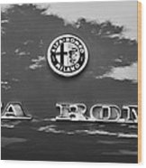 1969 Alfa Romeo Spider Veloce Iniezione Emblem Wood Print