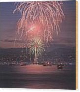 2014 4th Of July Firework Celebration.  Wood Print