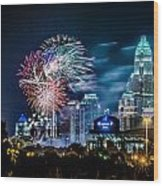4th Of July Firework Over Charlotte Skyline Wood Print