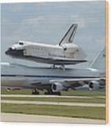 747 Carrying Space Shuttle Wood Print
