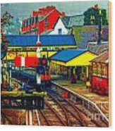 A Digitally Converted Painting Of Llangollen Railway Station North Wales Uk Wood Print